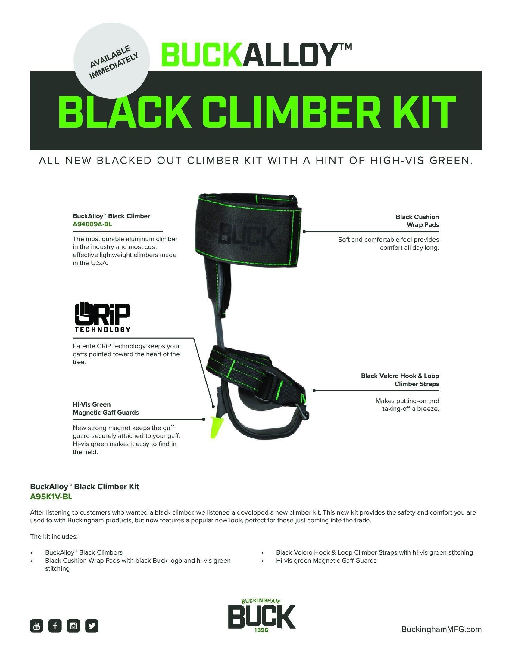 Buckalloy Black Tree Climber Kit, 2'' Height, 1'' Wide, 8'' Length