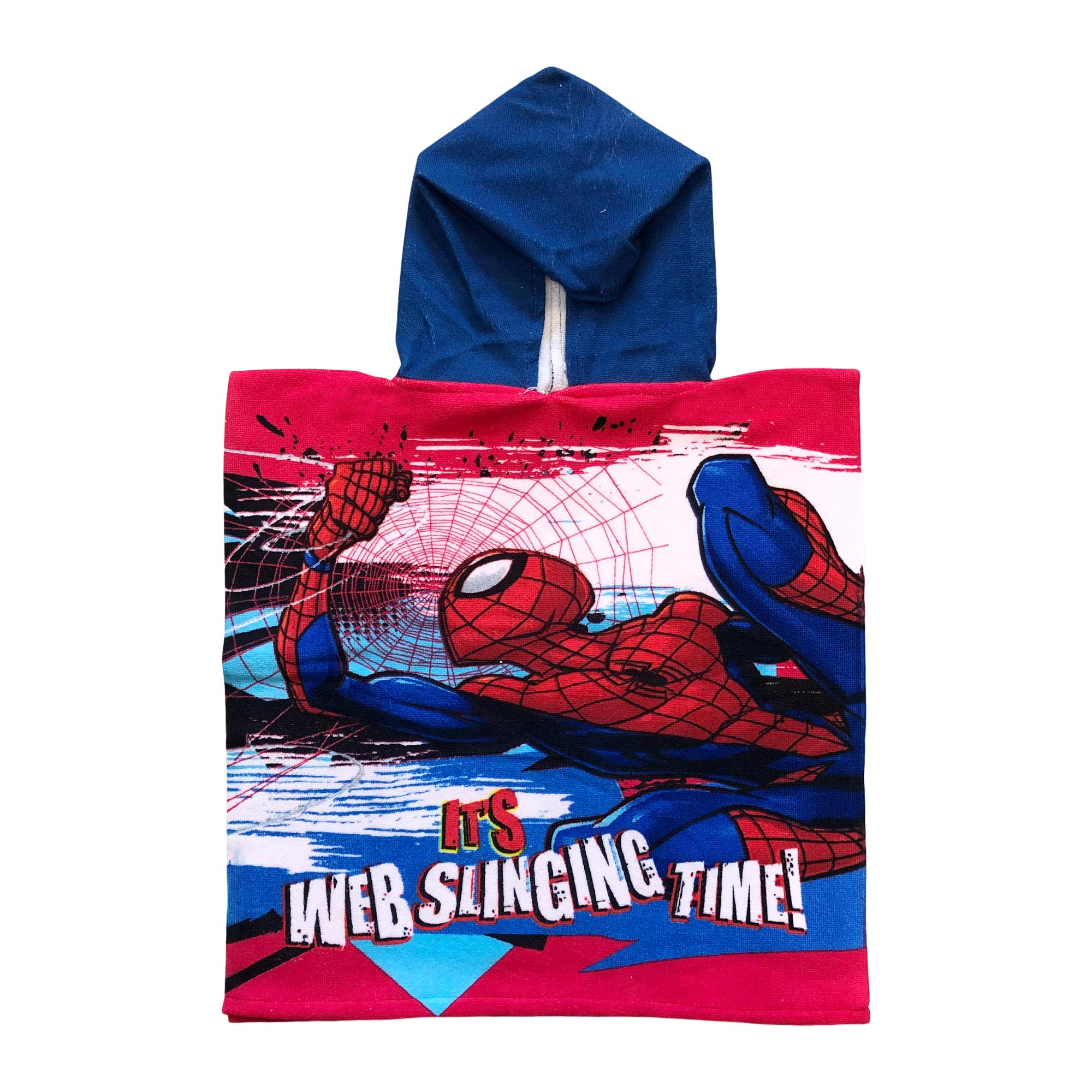 Marvels Spiderman Its Web Slinging Time!' Blue Hooded red Poncho Towel