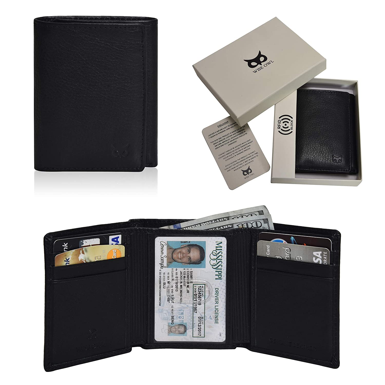 9d6a226b7ae9 Amazon.com: Wise Owl Accessories Men's Trifold Leather Wallets Slim - Wallet  Billfold With ID Window RFID Blocking Box Holiday Gifts Black: Clothing