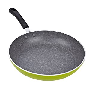 Cook N Home 12-Inch Frying Pan with Non-Stick Coating Induction Compatible Bottom, Large, Green