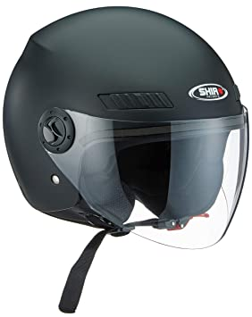 Shiro Casco Jet, sh62, GS, color negro mate, tamaño XXS