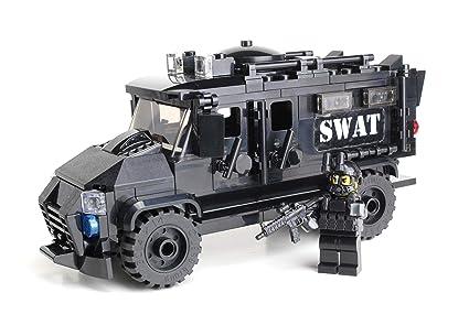 Amazoncom Battle Brick Armored Police Swat Truck Custom Set Toys