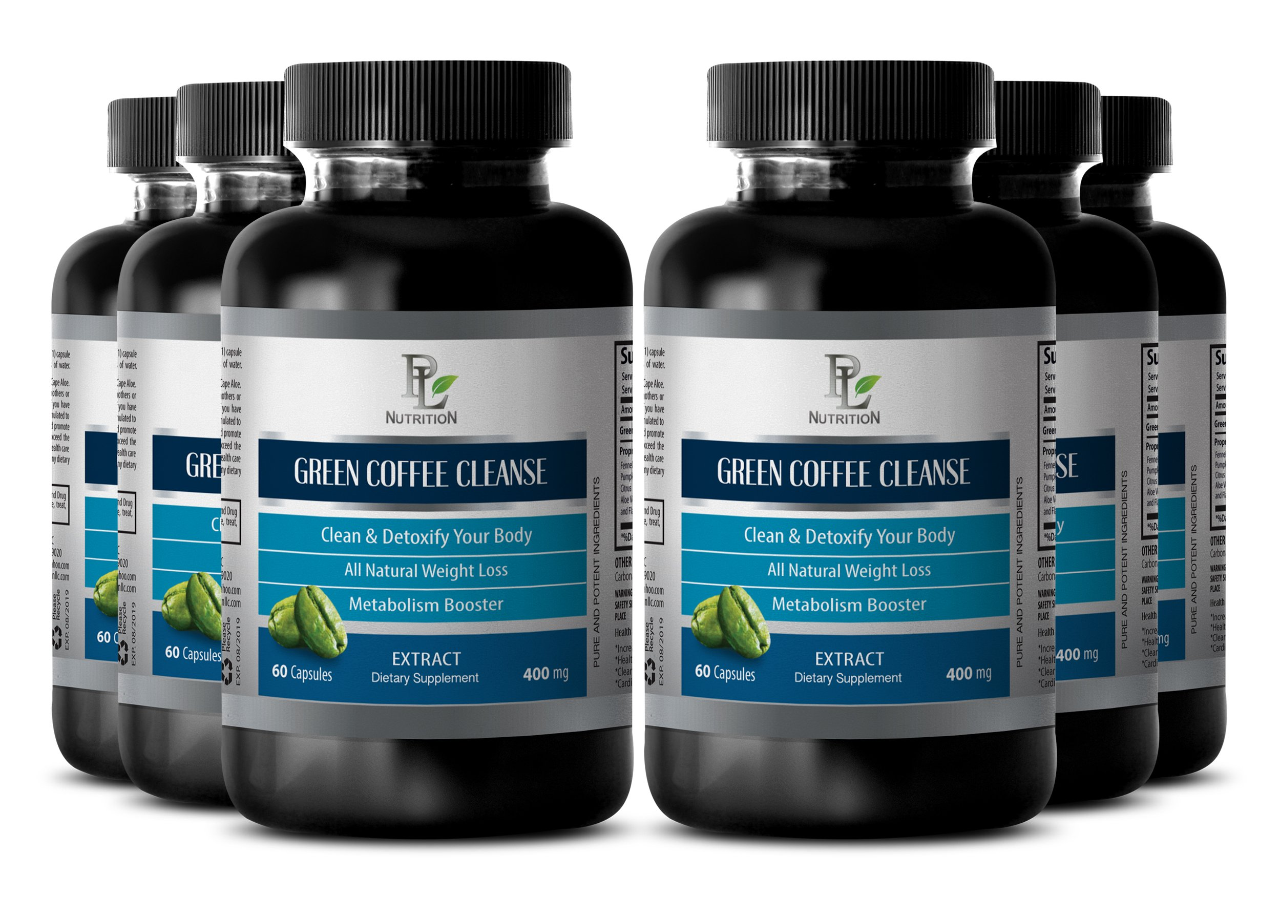 Skin health supplements - GREEN COFFEE CLEANSE - Green coffee power - 6 Bottle 360 Capsules