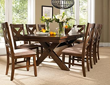 roundhill furniture karven 9 piece solid wood dining set with table and 8 chairs - All Wood Dining Room Table