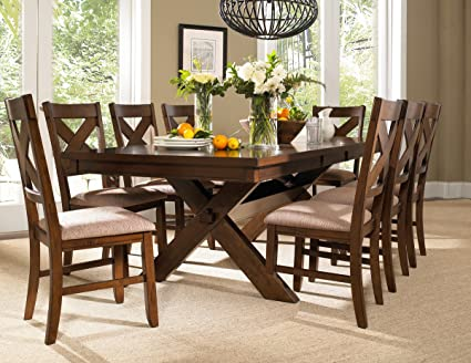 Roundhill Furniture Karven 9 Piece Solid Wood Dining Set With Table And 8  Chairs
