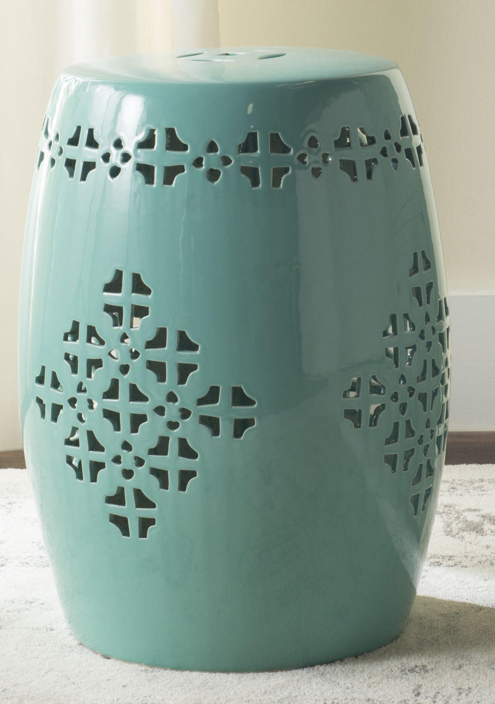 Safavieh Castle Gardens Collection Quatrefoil Aqua Glazed Ceramic Garden Stool