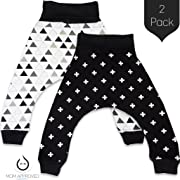 Kaydee Baby Organic Harem Pants - Set of 2 (Ages 0-24 Months) (3-6 Months, Plus/Triangles)