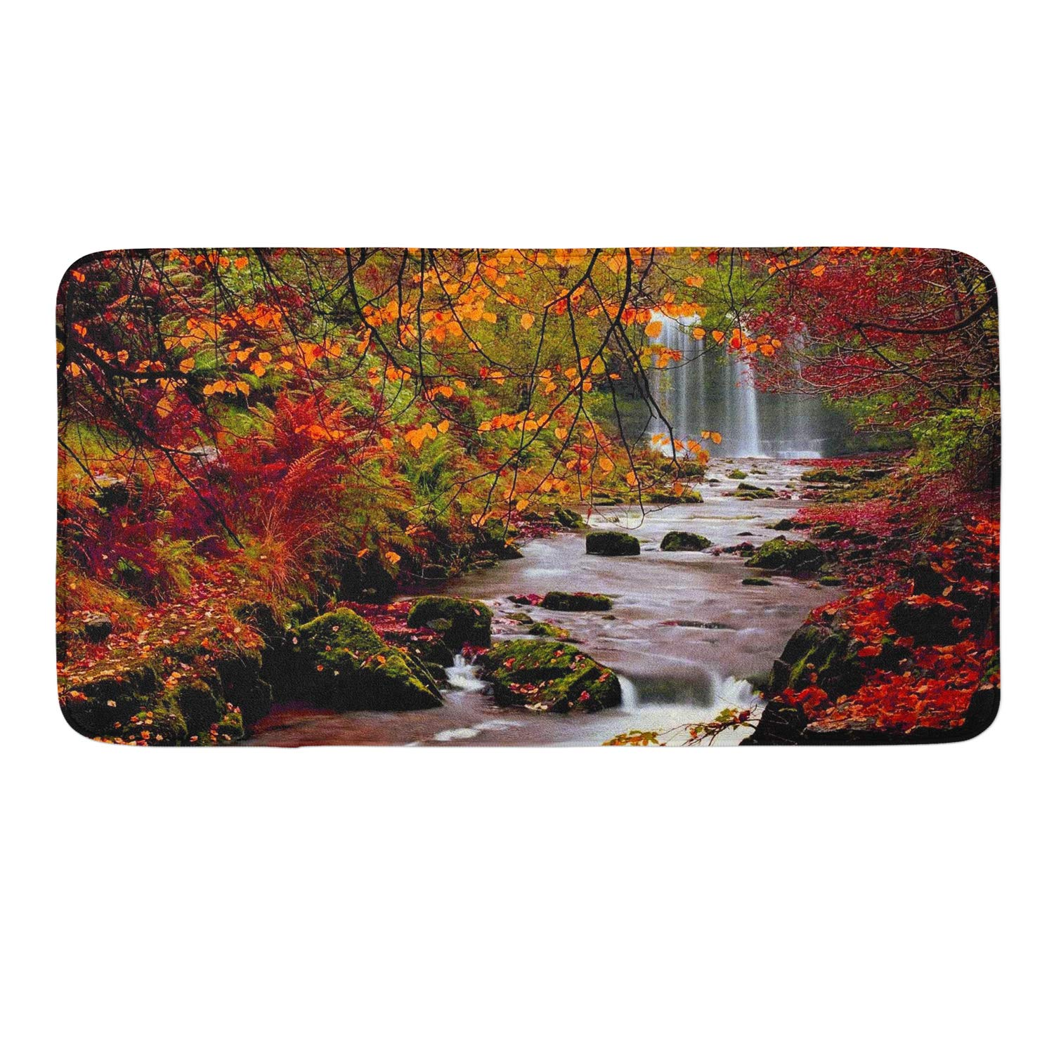 CIGOCI Memory Foam Non-Slip Bathroom Mat - 18 x 36 Inch, Extra Absorbent,Soft,Duarable and Quick-Dry Shaggy Mat, 3D PrintWaterfall Maple