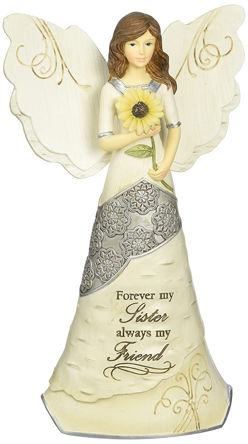 Elements Sister Angel Figurine by Pavilion 6-1/2-Inch Holding Sunflower Inscription Forever My Sister Always My Friend