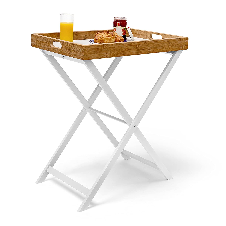 Relaxdays Table D Appoint Pliable Bambou Plateau Amovible Hxlxp  # Table Pour Manger Sur Canape