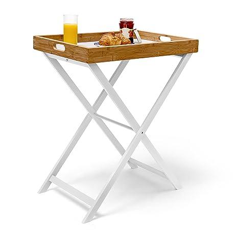Relaxdays - Mesa Auxiliar Plegable, bambú, 72 x 60 x 40 cm, Desayuno Almuerzo Cena,marrón y Blanco