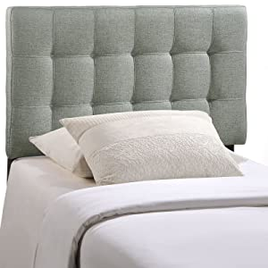 Modway Lily Tufted Linen Fabric Upholstered Twin Headboard in Gray