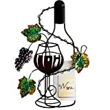 ARAD Hand Painted Red Wine Bottle and Leaves Wall Décor