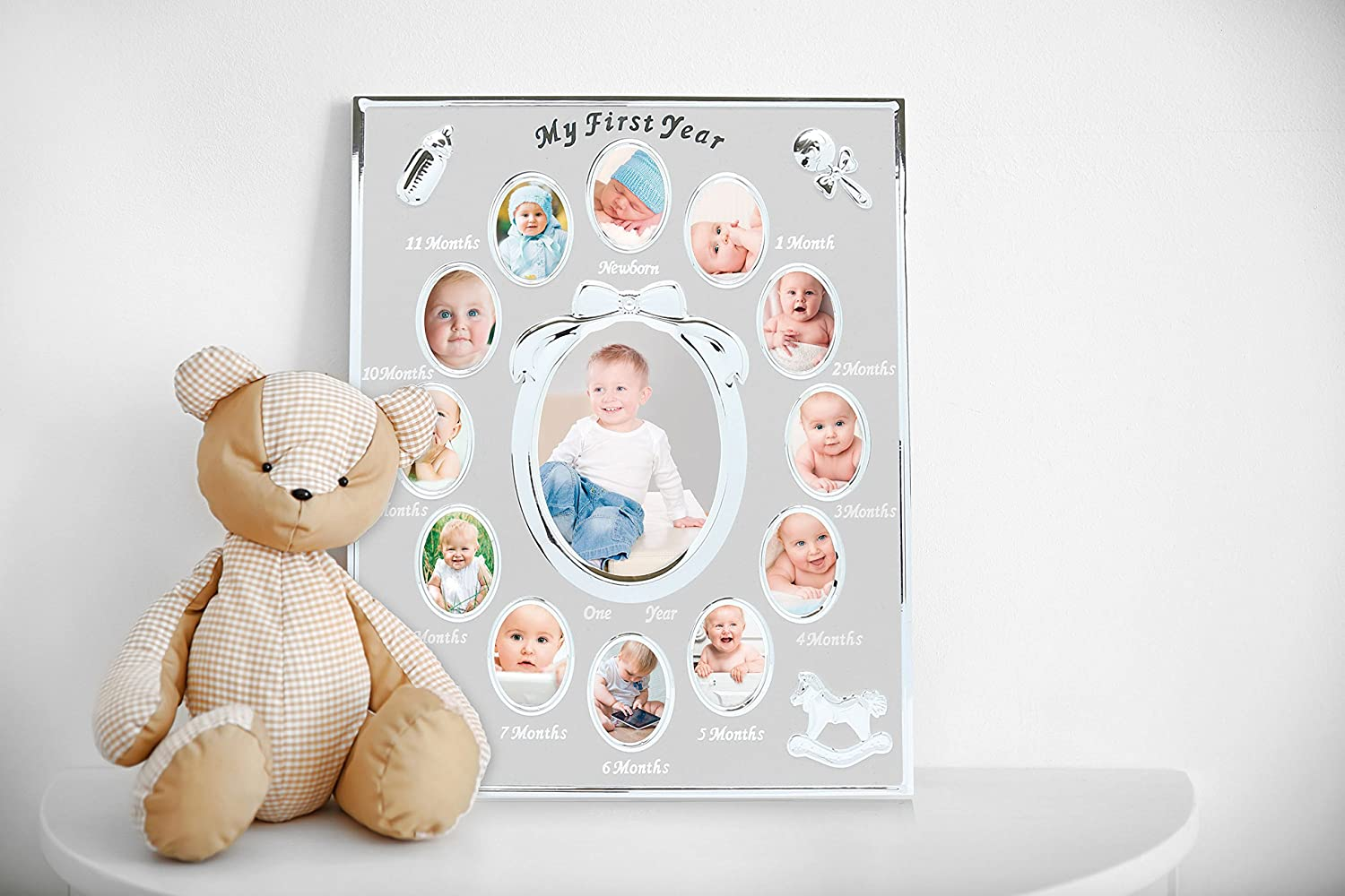 Silver Tiny Ideas Babys First Year Keepsake Picture Photo Frame