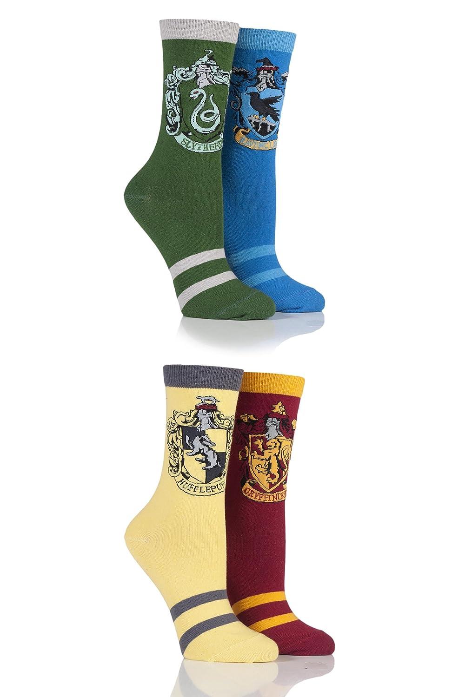 Ladies 4 Pair Harry Potter House Badges Socks