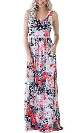 391385d028e45c ECOWISH Damen Kleid Sommerkleid Ärmellos Rundhals Blumendruck Strandkleid  Lässiges Maxikleid mit Taschen Orange Rosa S