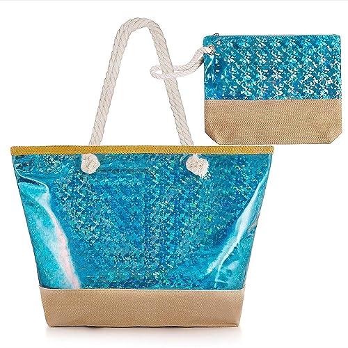 Diealles Bolsa Playa Grande Mujer Brillante, Bolsa Playa Grande con Cremallera XXL, (Tamaño Perfecto 55 x 39 x 16.5 cm), Ideal para la Playa o Piscina