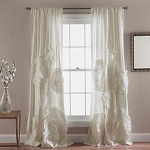 "Lush Decor Serena Drape | Window Panel for Living, Dining Room, Bedroom (Single Curtain), 84"" x 54"", Ivory"