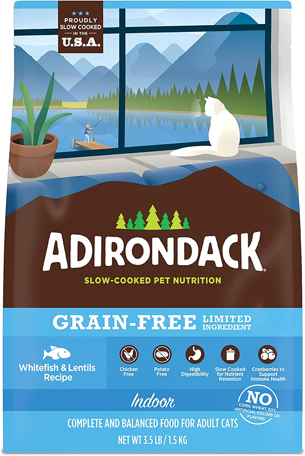 Adirondack Cat Food Made in USA [Limited Ingredient Grain Free Cat Food For Adult Cats], Indoor Cat Food Dry, Chicken and Whitefish Recipes