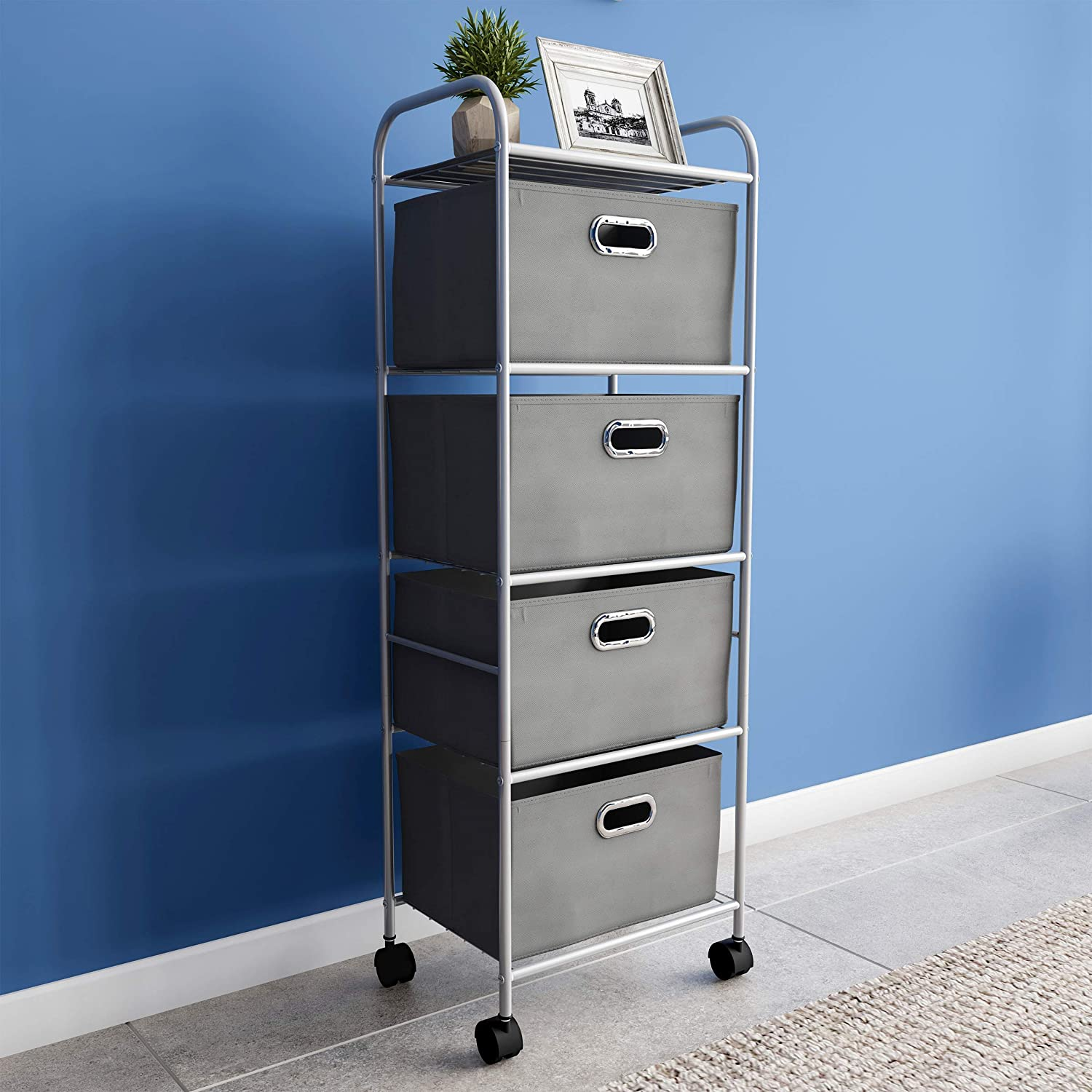 Lavish Home 4 Drawer Rolling Cart on Wheels– Portable Metal Storage Organizer with Fabric Bins for Home, Office, Dorm Room and Classroom