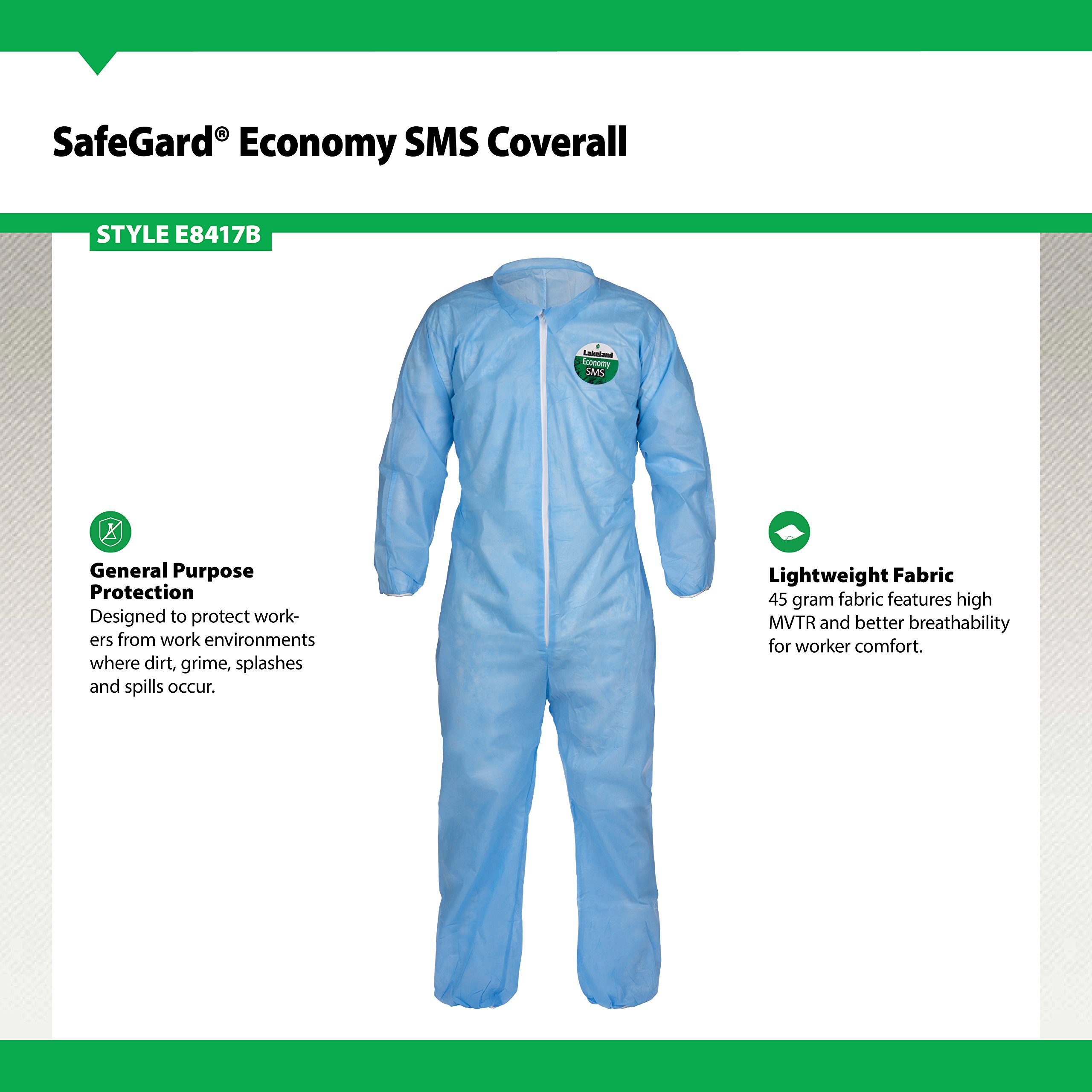 Lakeland SafeGard Economy SMS Coverall, Disposable, Elastic Cuff, X-Large, Blue (Case of 25) by Lakeland Industries Inc (Image #2)