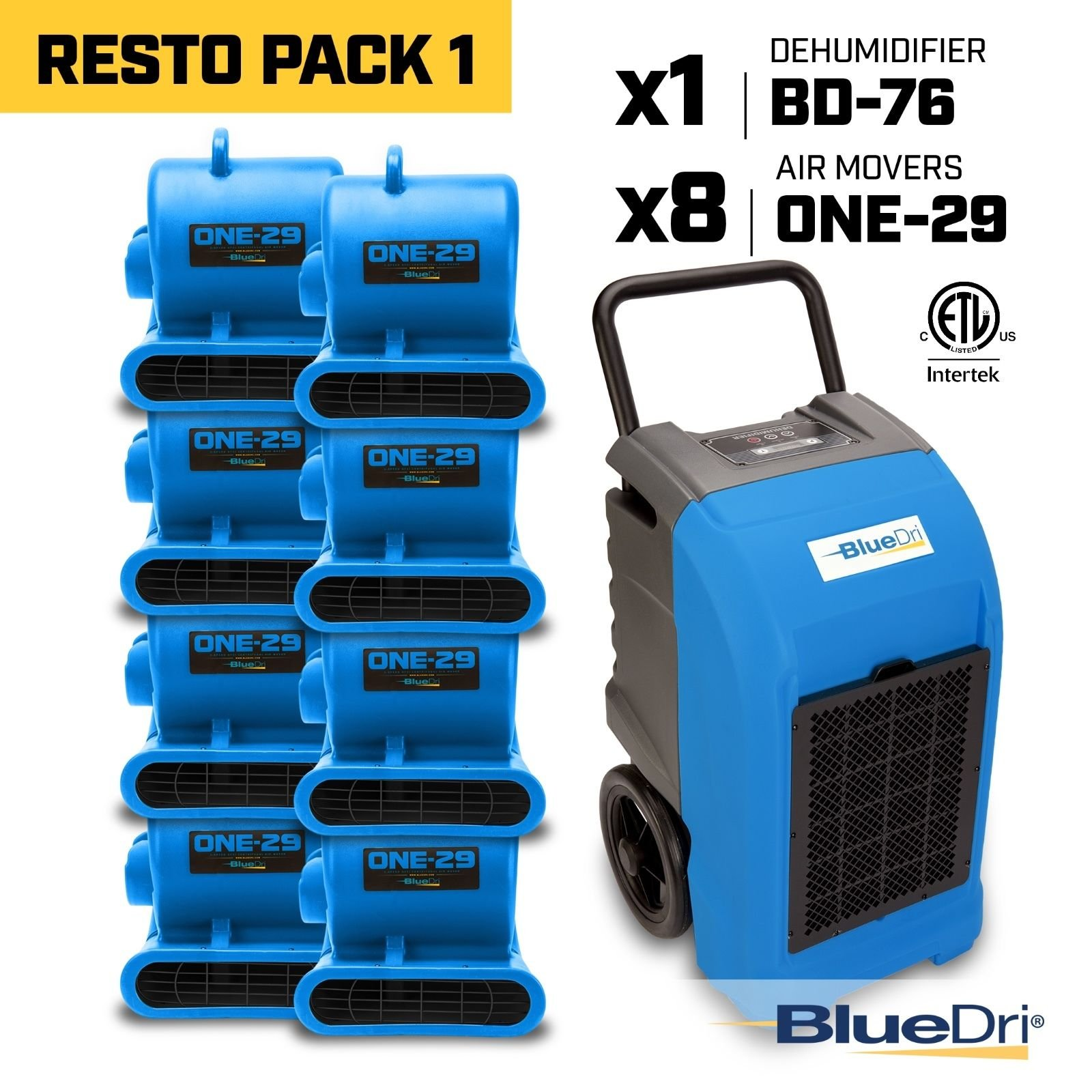 Blue BlueDri RestoPack1 includes 1x 76 Pint PPD Stackable Commercial Dehumidifiers 8x 1/3 HP 3 Speed 2.9 Amp One-29 Stackable Air Mover