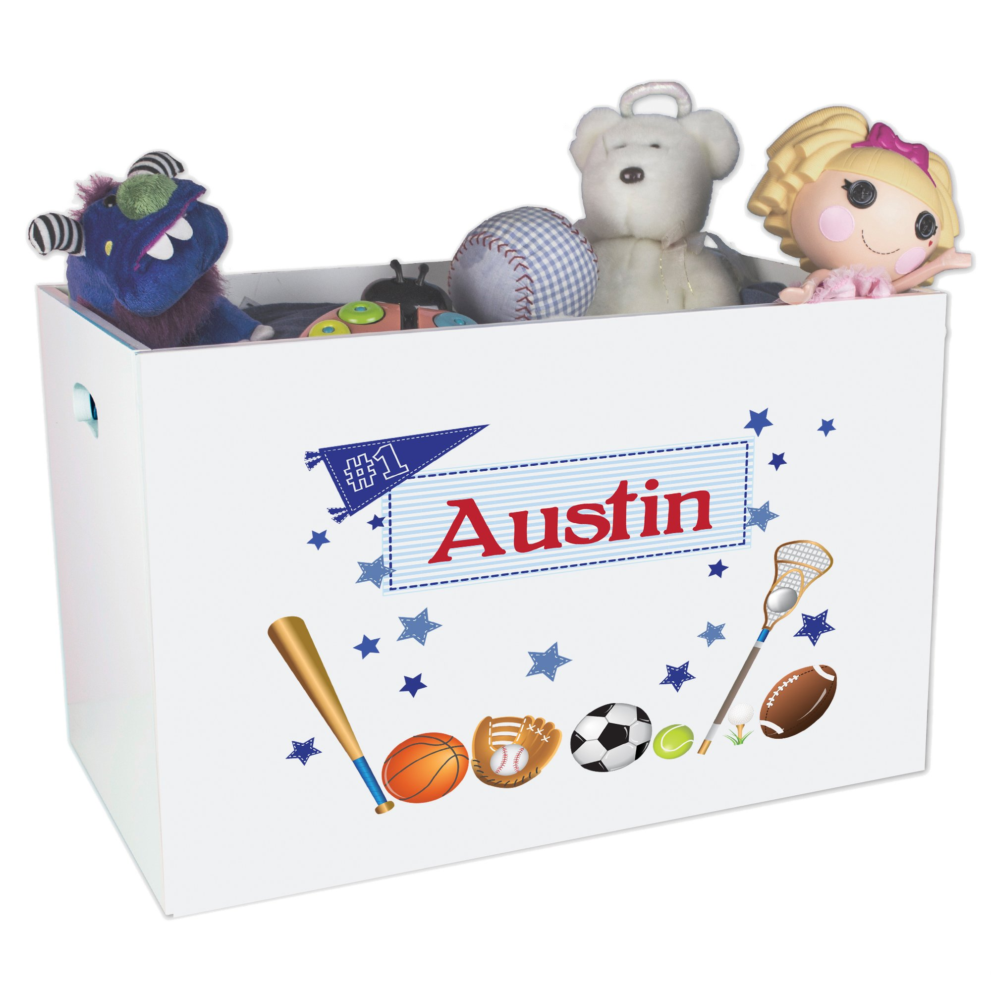 Personalized Sports Childrens Nursery White Open Toy Box by MyBambino