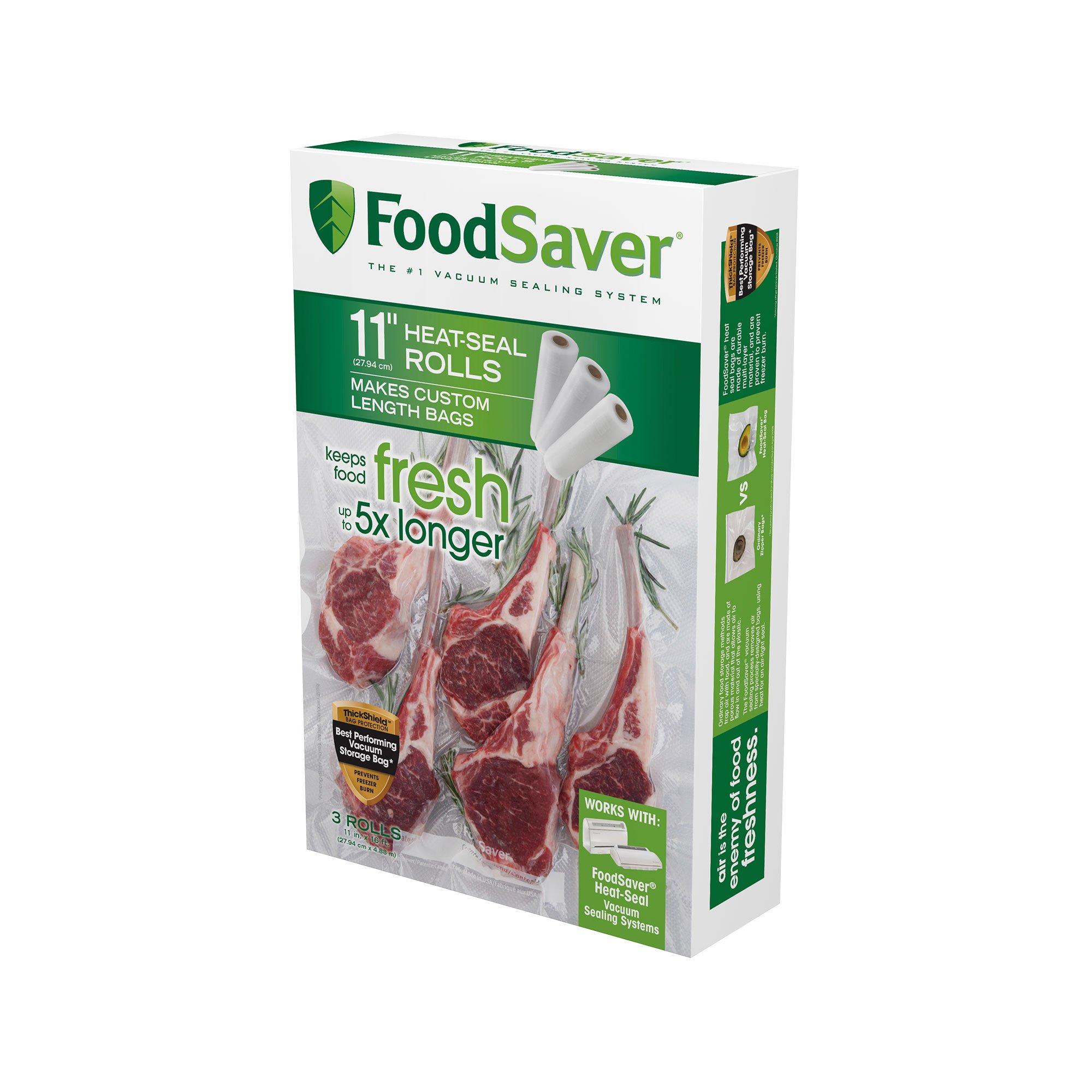 FoodSaver 11'' x 16' Vacuum Seal Roll | Make Custom-Sized BPA-Free Vacuum Sealer Bags | 3-Pack by FoodSaver