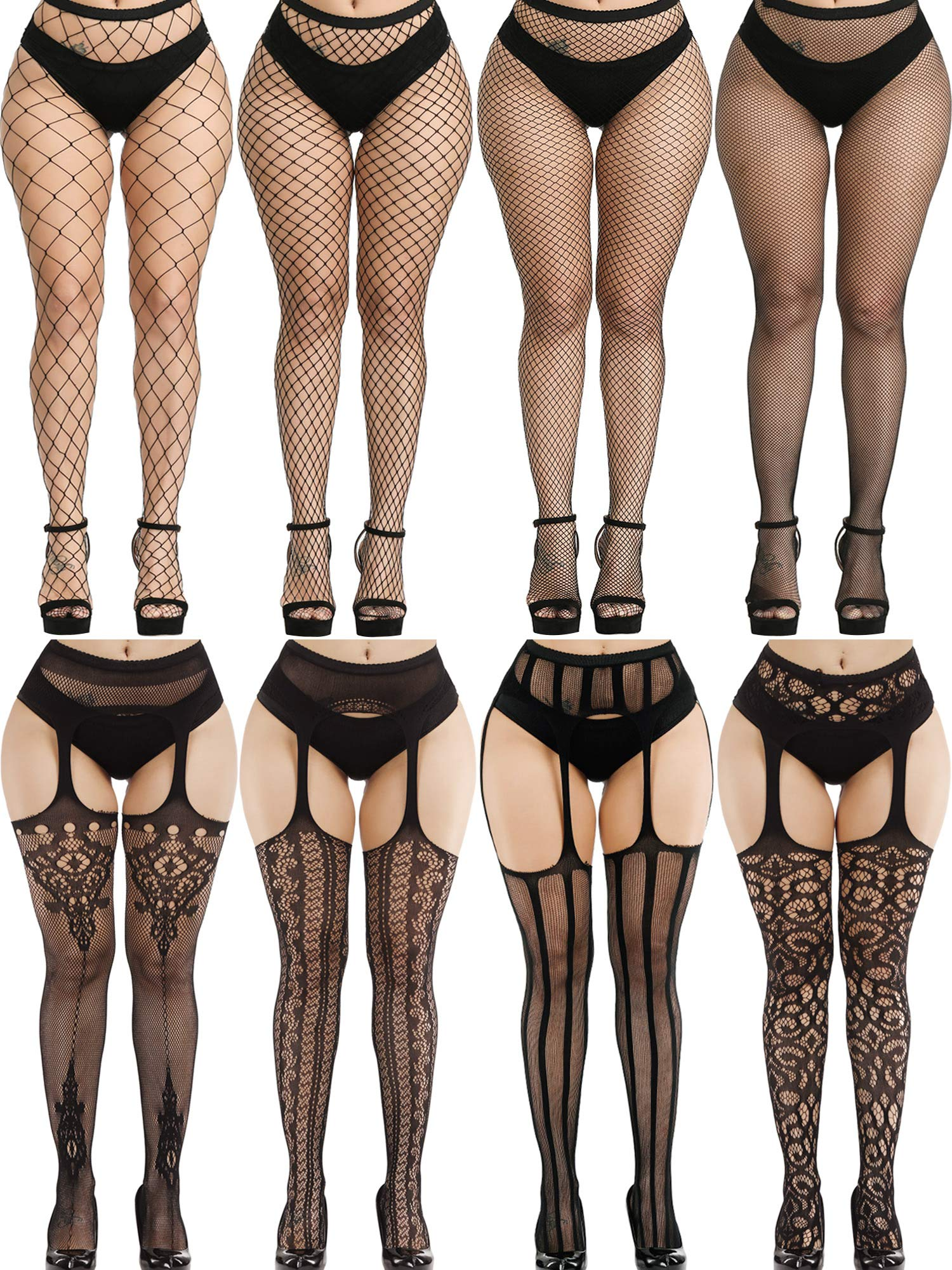 8 Pairs Women Fishnet Stockings Tights Pantyhose Thigh High Stockings Waist Fishnets