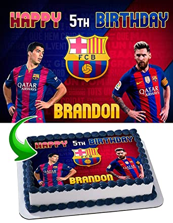 Fc Barcelona Lionel Messi Leo Messi Luis Suarez Edible Image Cake Topper Party Personalized 1 4 Sheet Amazon Com Grocery Gourmet Food