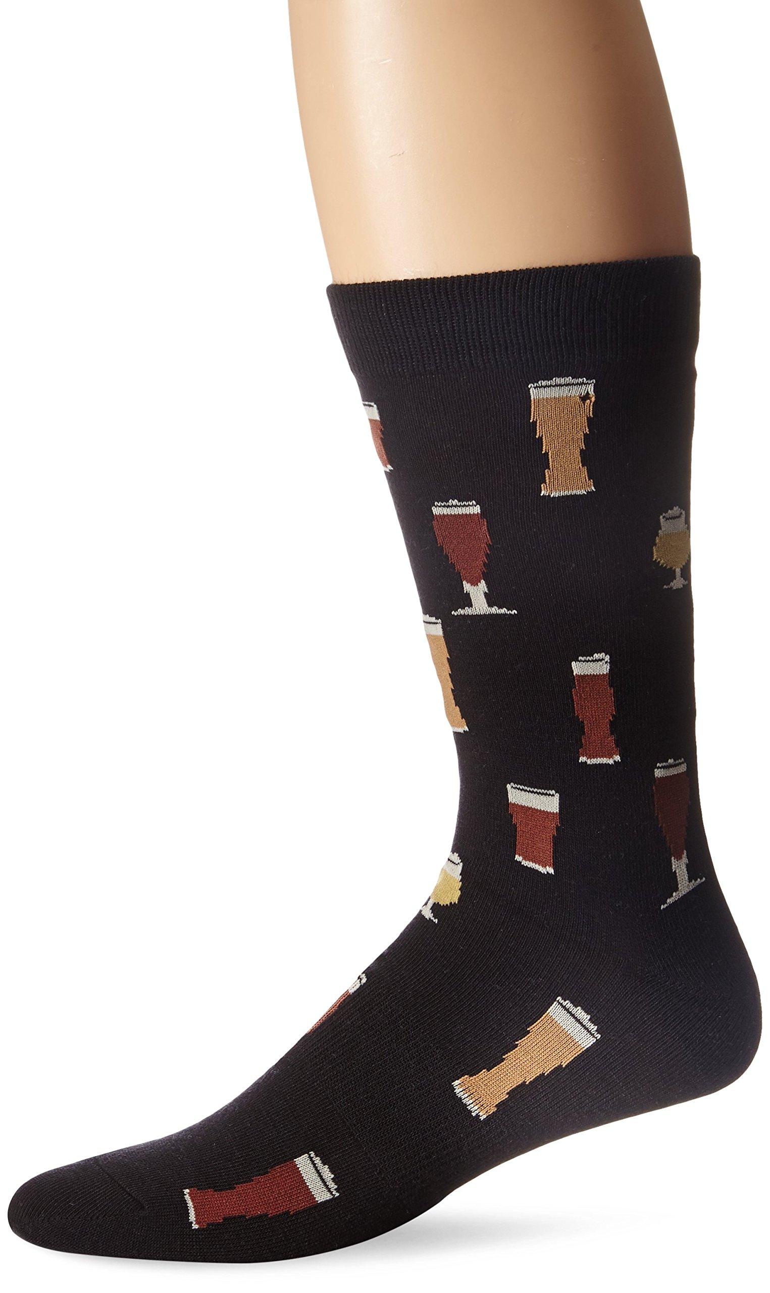 K.Bell Black Label Men's Craft Beers Crew Sock, Black, 10-13/Shoe Size 6-12