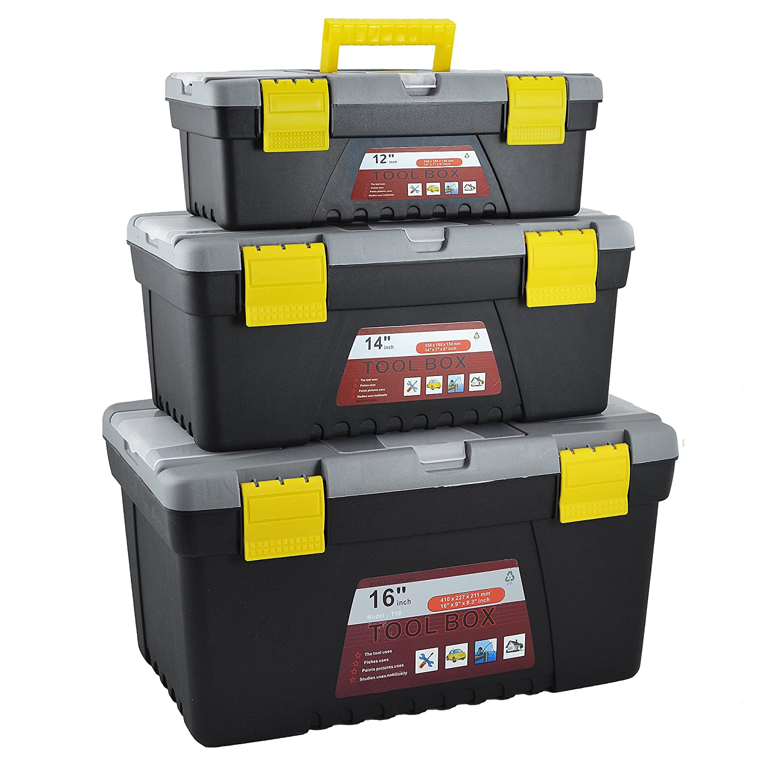 3PC PLASTIC TOOL BOX CHEST SET HANDLE TRAY COMPARTMENT STORAGE STRONG CARRY CASE
