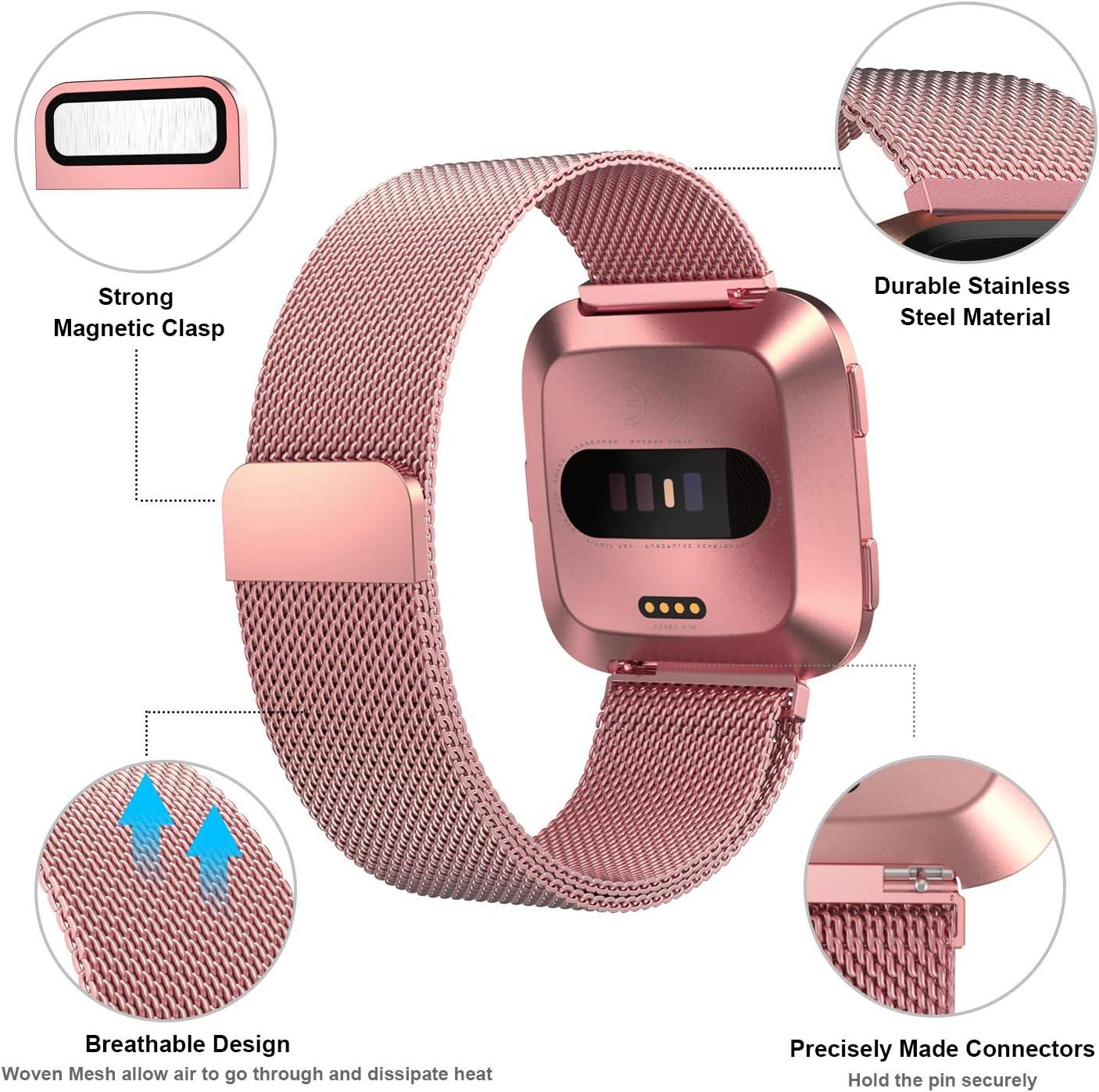 Meikeio Metal Replacement Bands Compatible for Fitbit Versa//Versa Lite Edition//Versa 2 Stainless Steel Metal Bracelet