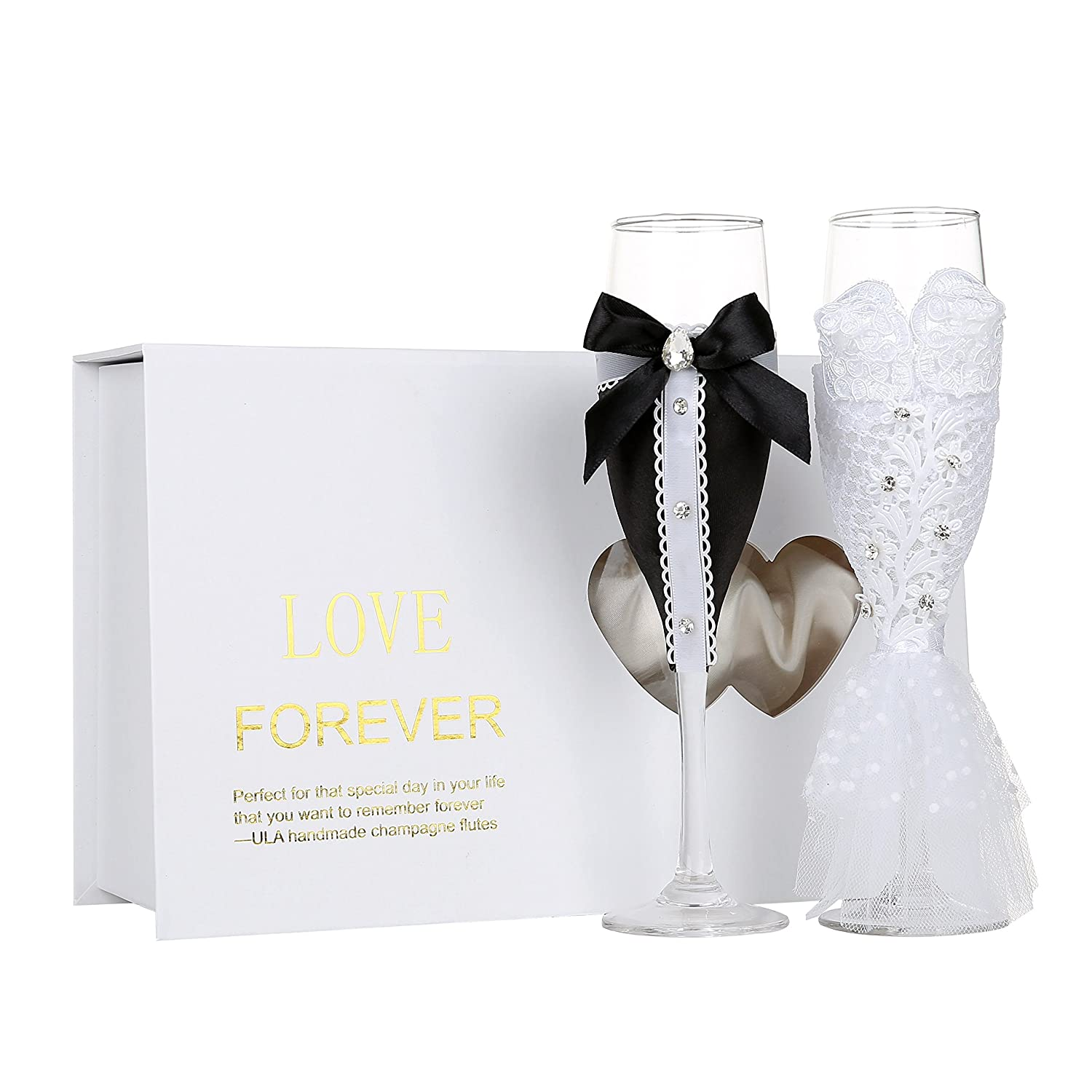97ab04b4fc5c Personalized Wedding Dress Wine Glasses-ULA Handmade Bride and Groom  Champagne Flutes for Toasting