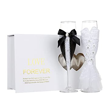 Amazon Personalized Wedding Dress Wine Glasses Ula Handmade