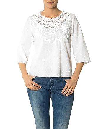 190be9f36484 Joop! Damen Bluse Baum Wolle Blusenshirt Unifarben, Größe  42, Farbe  Weiß