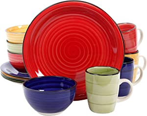 Gibson Home 95631.12RM Color Vibes 12 Piece Dinnerware Set, Assorted Colors