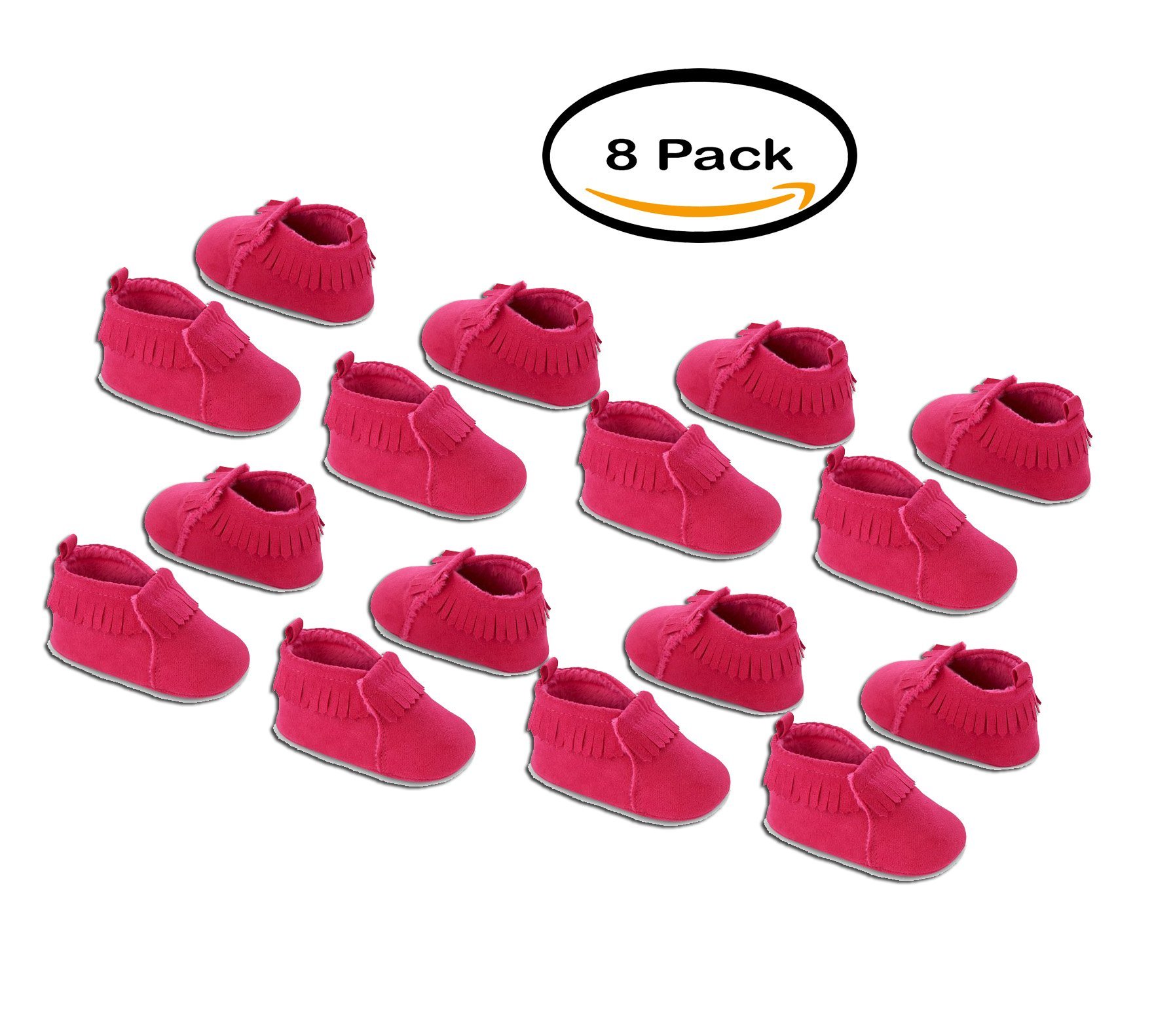 PACK OF 8 - Child of Mine by Carter's Newborn Baby Girl Pink Moccasins