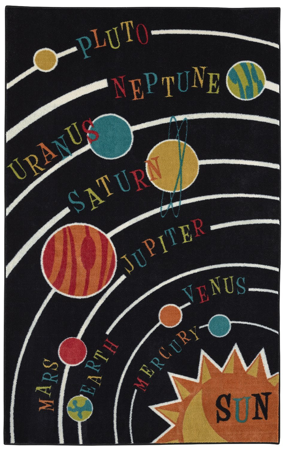 Mohawk Home 12381 402 060096 Aurora Planets SOLAR System Colorful Printed Kids Area Rug, 5' x 8', Black