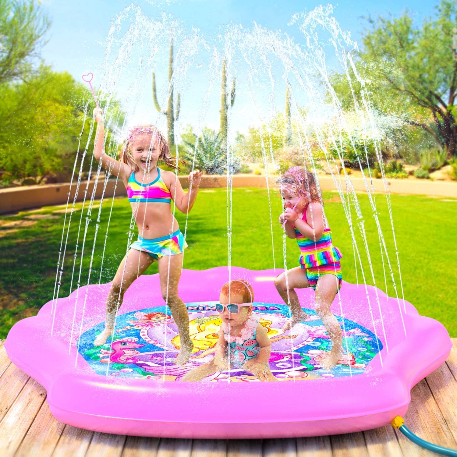 """PRINCESSEA Splash Pad for Girls, XL 70"""" Outdoor Mermaid Children's Water Pad, Wading Pool & Sprinkler for Kids - Inflatable Kiddie Swimming Pool, Water Toy for Babies and Toddlers 12 Months & Up"""