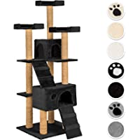 TecTake Arbre à Chat Griffoir corde de coco 169 cm | 2 Grottes | 3 Plateformes - diverses couleurs au choix - (noir | No. 402195)