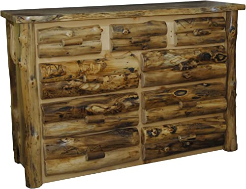 Furniture Barn USA Rustic Aspen Log 9 Drawer Dresser