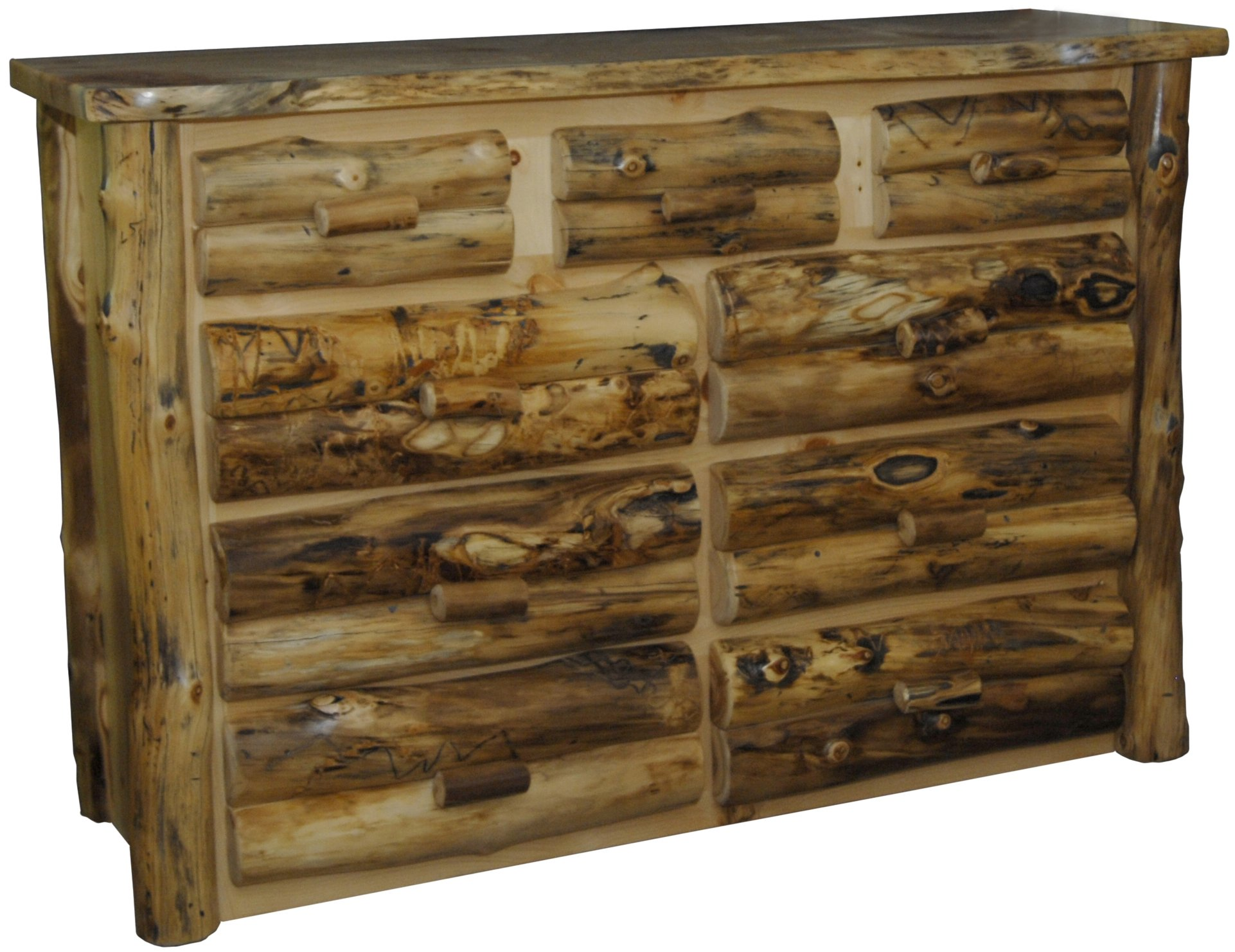 """Furniture Barn USA Rustic Aspen Log 9 Drawer Dresser - Genuine Pennsylvania Amish Craftsmanship. Heirloom Pieces that will last for generations. Made in the USA. Traditional Joinery Methods. Each piece is carefully coated with a Clear Lacquer finish. DIMENSIONS: 35"""" H x 64"""" W x 21"""" D Each piece is Made to Order. Requires time for construction. - dressers-bedroom-furniture, bedroom-furniture, bedroom - 81znGYb4B1L -"""