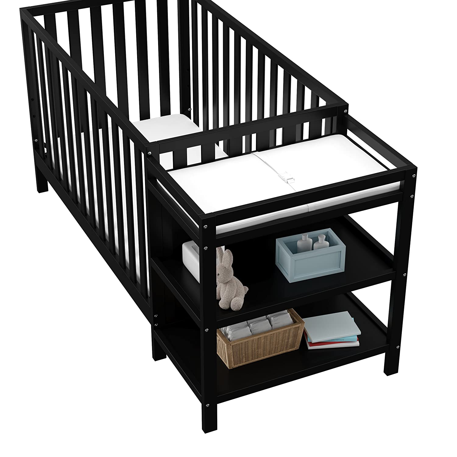 Black Storkcraft Pacific 4-in-1 Convertible Crib and Changer