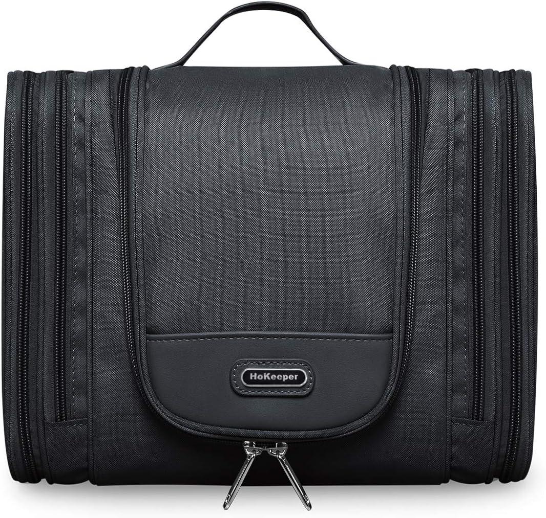 Waterproof Hanging Dopp Kit Travel Toiletry Bag Shaving Kit for Men Cosmetic Makeup Bag for Women X Large Size 11.5 x 4.5 x 9.5 Inch (Black)