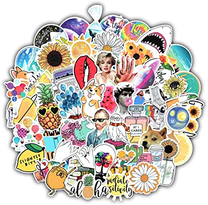 XCVBN Aesthetic Sticker Pack Vinyl Waterproof Trendy Water Bottle Laptop Stickers Decal Graffiti Patches For Teen Girls Stickers 53Pcs: Amazon.es: Coche y moto