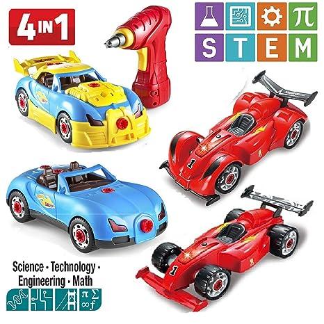 Build Your Car >> Amazon Com Prextex 4 In 1 Build Your Own Racer Car Set Stem Toy