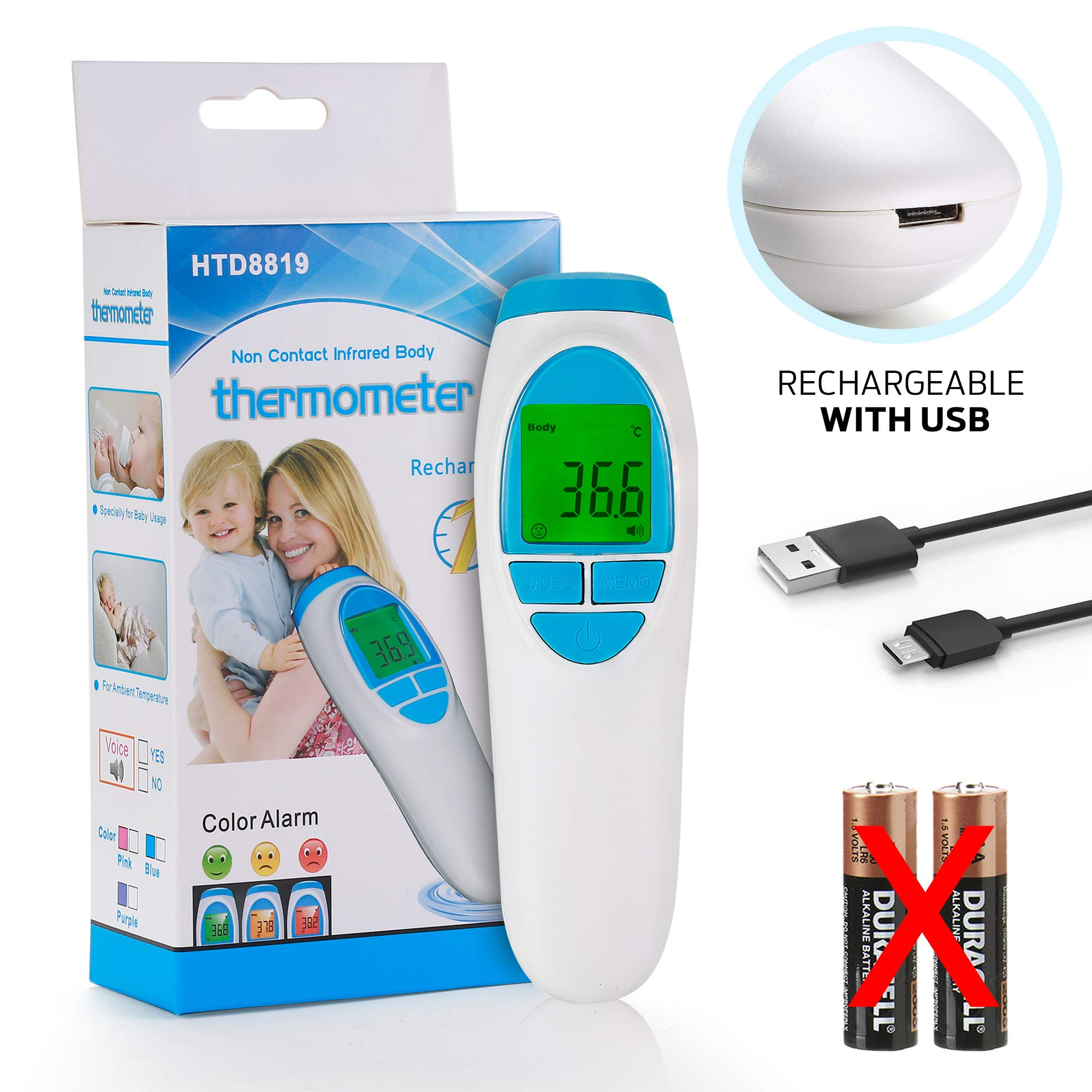 Baby Forehead Digital, Rechargeable Thermometer for Fever, Medical & Non-Contact by Thermometerzd