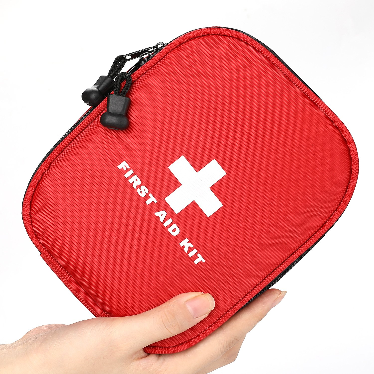 First Aid Kit - 143 Piece with Medical Emergency (CPR mask and Scissor) and Survival Tools for Home, Car, Work & Travel (Red)