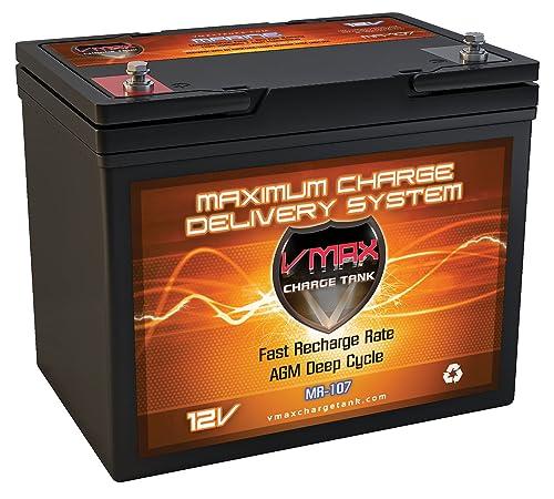 Vmaxtanks MR107 12V 85AH Marine AGM SLA Deep Cycle Battery ideal for boats and 30lb-55lb thrust Minn Kota, Newport Vessels, Cobra, Sevylor and other trolling motors. BCI Group 24